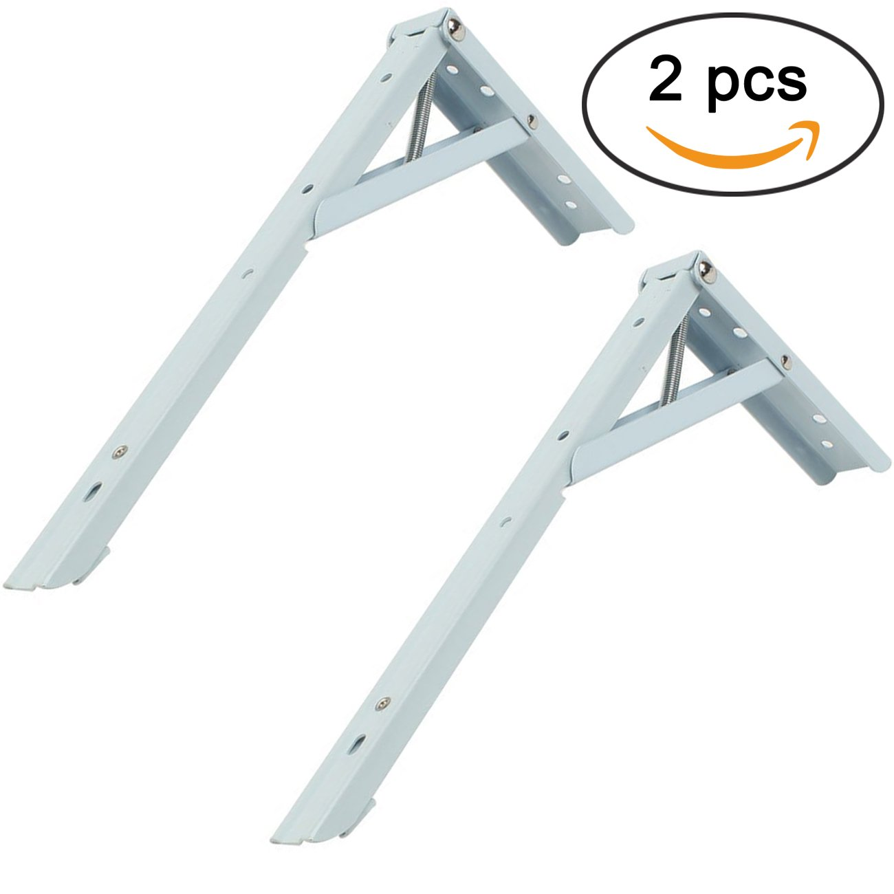 Sunnyglade 2PCS Stainless Steel Spring Loaded Folding Support Shelf Bracket/Bench Table Folding Shelf with 8 Screws (12'')
