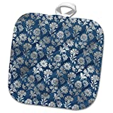 3dRose Anne Marie Baugh - Patterns - Pretty Steel Blue With A Faux Silver Floral Overlay - 8x8 Potholder (phl_282997_1)