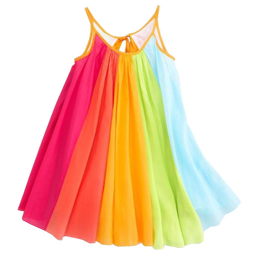 Fabal Summer Girls Beach Rainbow Dress Girls Sleeveless Sling Perform Party Dress