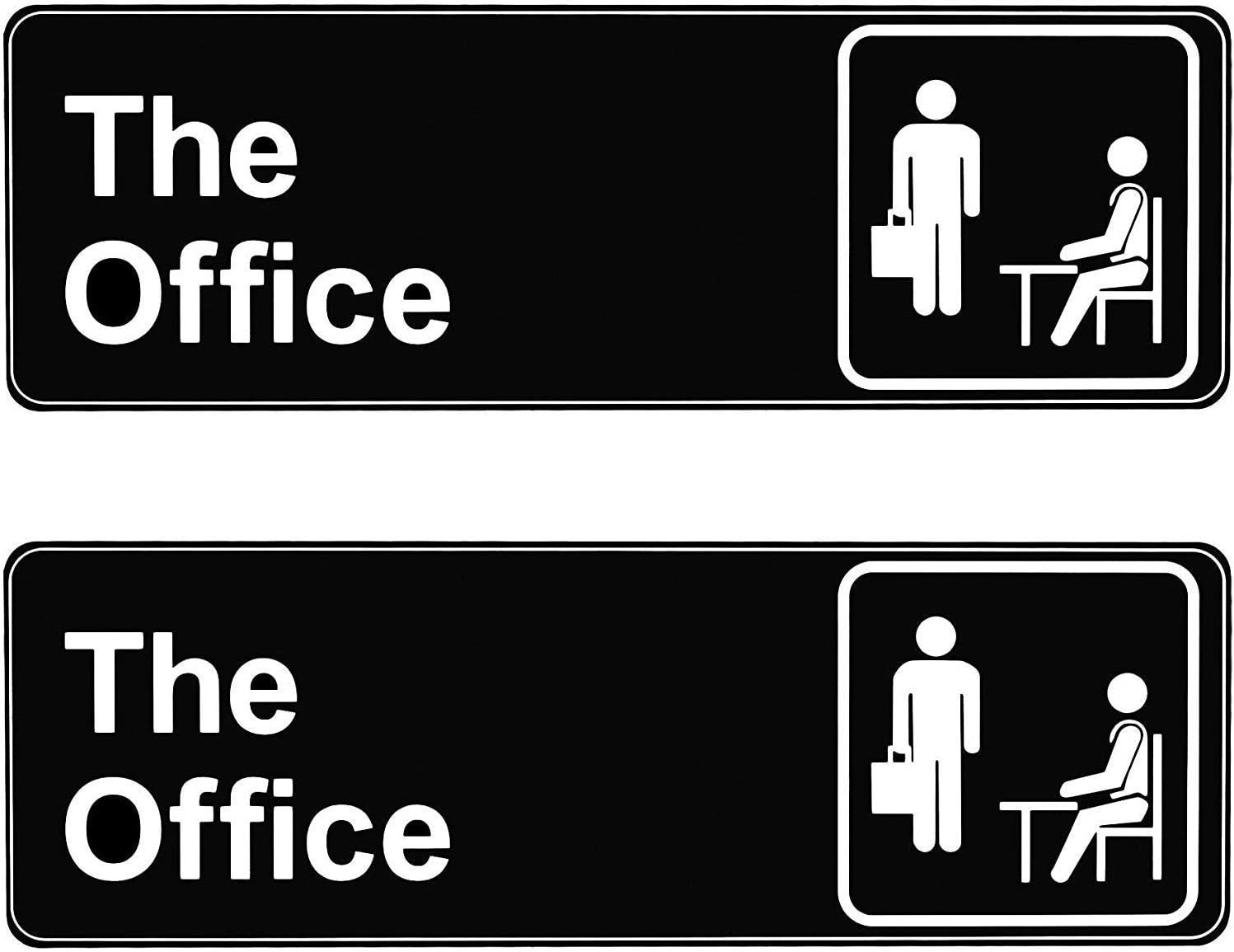 The Office Sign, Self Adhesive Logo Sign for Official Door Wall 9x3 Inch, Quick and Easy Installation Acrylic for Home Office Business, The Office Merchandise White Letters on Black Plate