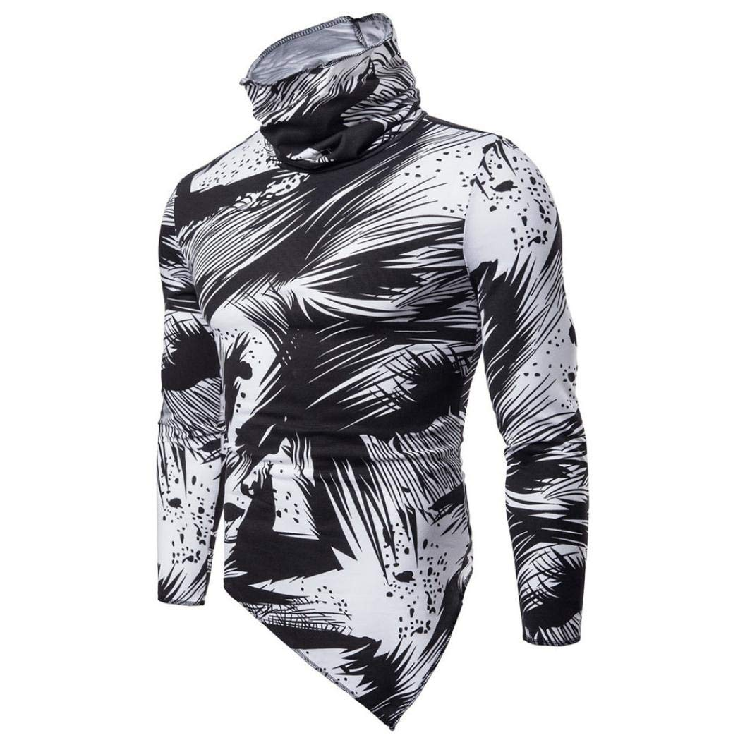 Men Printing Tee Male Long Sleeve T Shirt Oxford Formal Casual Suits Shirts Blouse Top by SanCanSn (White,2XL) by SanCanSn Men Top (Image #7)