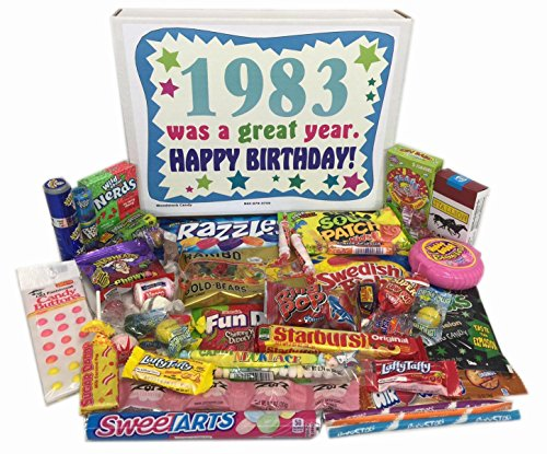 Woodstock Candy 1983 35th Birthday Gift Box of Retro Nostalgic Candy from Childhood for 35 Year Old Men and Women
