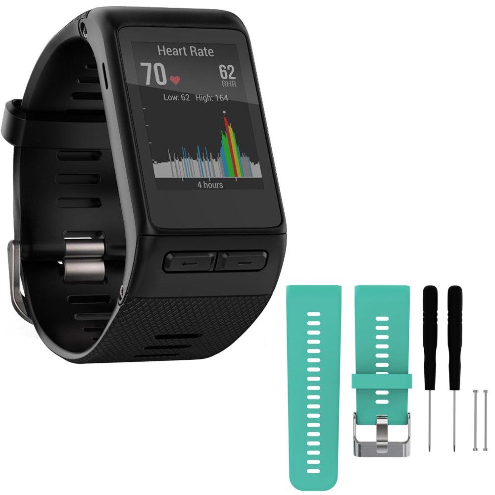 Garmin vivoactive HR GPS Smartwatch - Regular Fit - Black (010-01605-03) with General Brand Silicone Band Strap + Tools for Garmin Vivoactive HR Sport Watch (Teal)