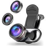 Lentes para móviles, MATONE 3 en 1 Clip-On Universal Kit de lentes [Lente Ojo de pez 180 Grados + 0.65x Gran Angular Lente + 15x Macro Lente] para iPhone X 6 7 8 Plus, Samsung S9 Plus, Huawei, Xiaomi