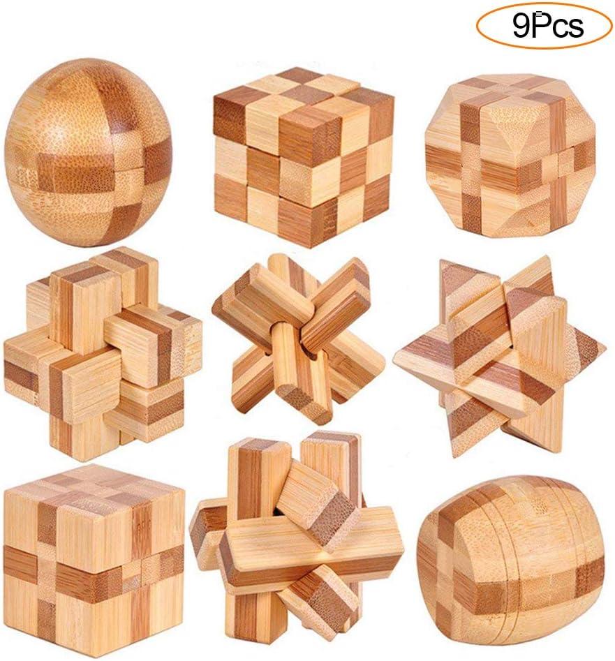 YGZN 9 Piezas Cubo Rompecabezas 3D de Madera del Enigma Juego Puzle - IQ Juguete Educativo - 3D Brain Teaser Puzzle de Madera - Juego Niños y Adolescentes (Wooden Puzzles 9Set)