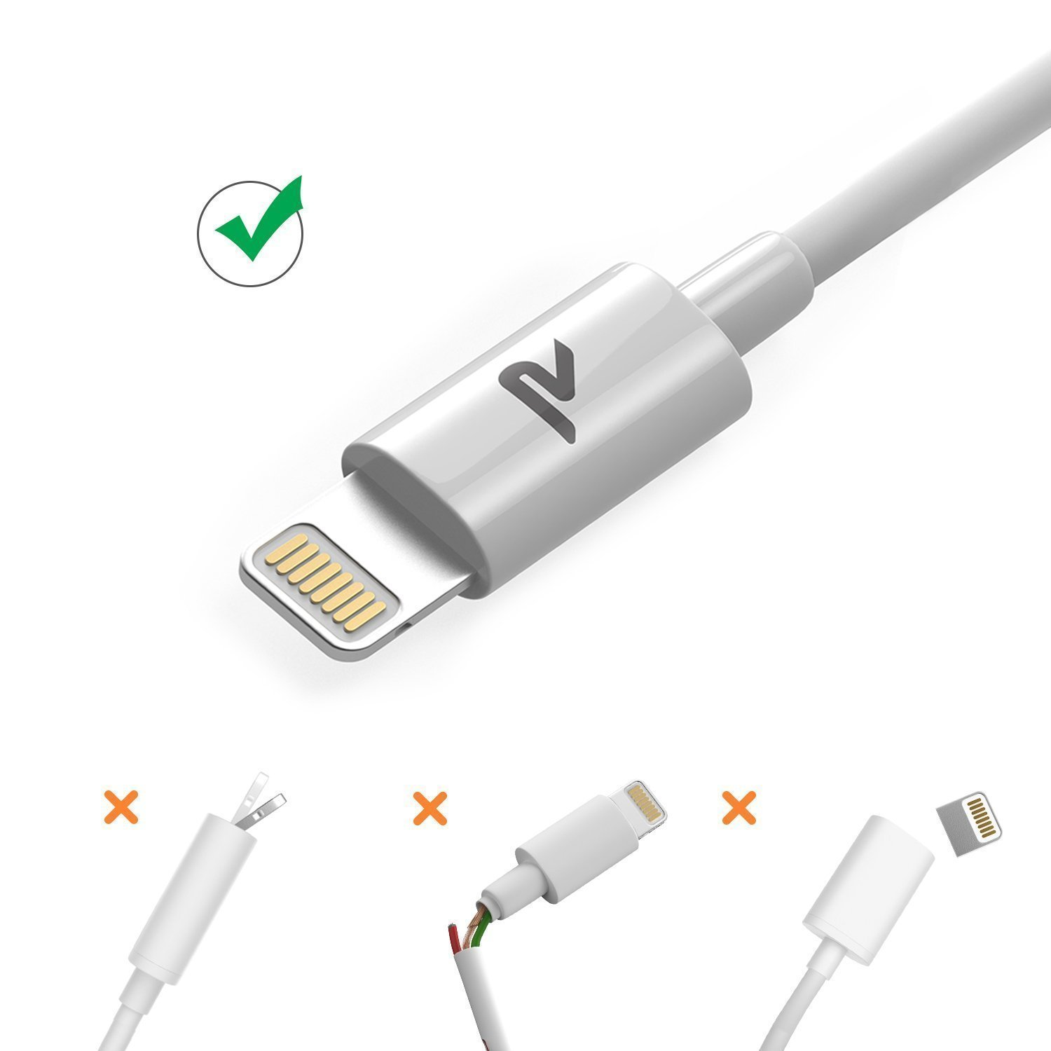 iPhone Lightning Cable RAMPOW iPhone USB Cable - White iPad//Pro//Air 6.5ft Apple MFI Certified iPod//Touch // Charger Cable Compatible iPhone Xs//Xs Max//X//8//7//7 Plus//6//6 Plus//5S//se//5