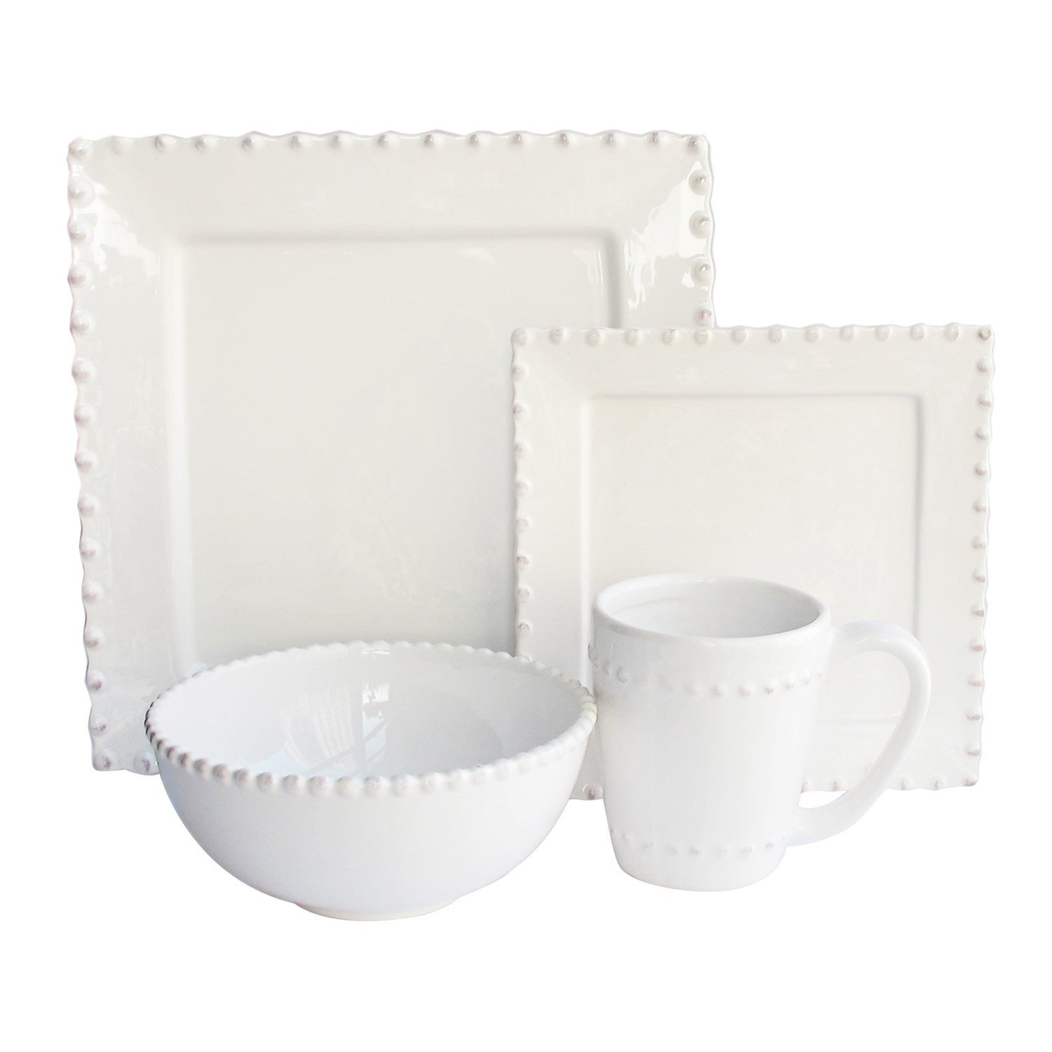 Christmas Tablescape Décor - White Bianca Bead square dolomite 16-Piece dinnerware set - Service for 4 by American Atelier