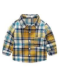 Toddler Boys' V-neck Woven Shirt Formal Wedding Button Down Shirt Long-sleeve Lattice Dress Shirt, Yellow Checkered, 6-7T
