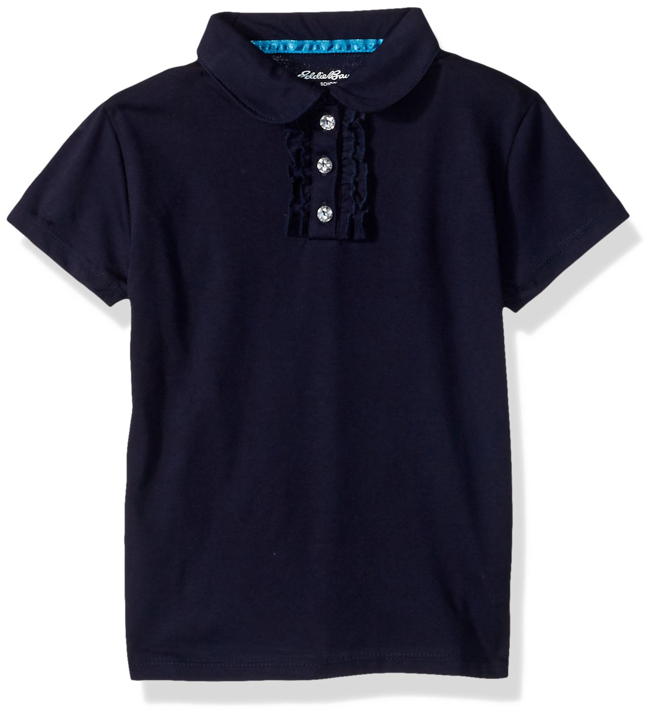 Eddie Bauer Girls' Polo Shirt (More Styles Available), Simple Navy, 4