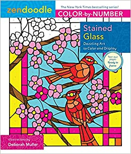 Amazon Zendoodle Color By Number Stained Glass Dazzling Art To And Display 9781250149190 Deborah Muller Books