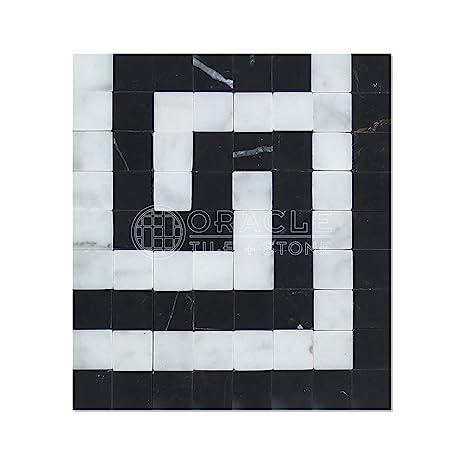 Carrara White Italian Bianco Carrara Marble Greek Key Border Corner With Black Marble