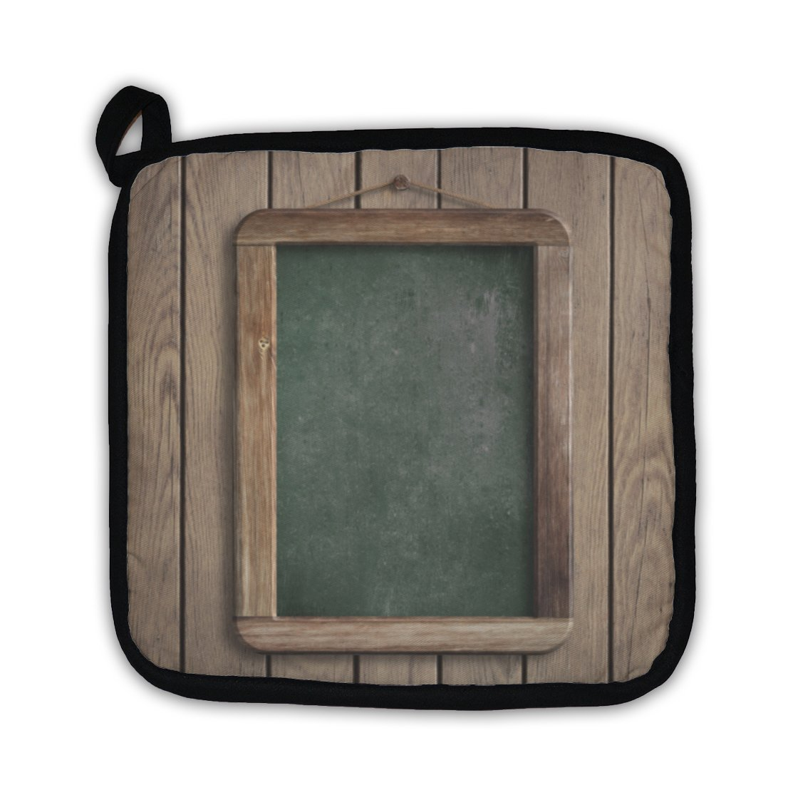 Gear New Aged Menu Blackboard Hanging on Wooden Wall Pot Holder