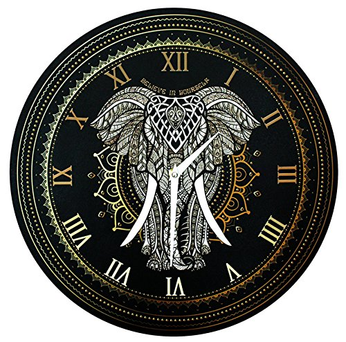 Elephant Wall Clock - 'Elephant Mandala - Believe in Yourself' (16
