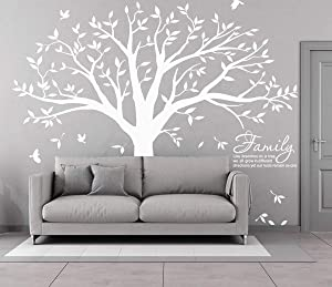 Family Tree Wall Decal Quote- Family Like Branches On A Tree Lettering Tree Wall Sticker for Bedroom Decoration (White)