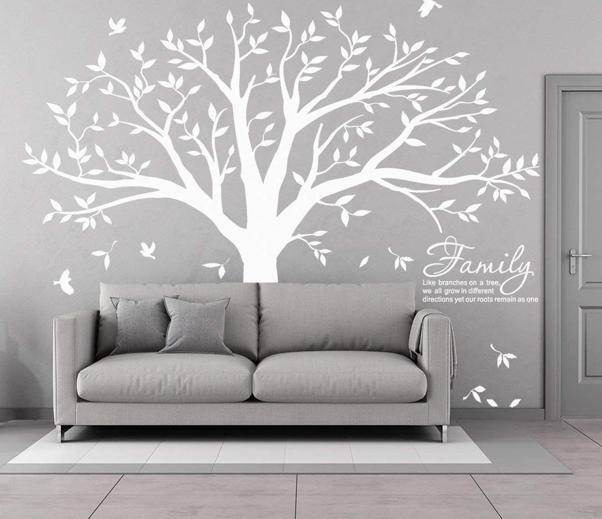 MAFENT Family Tree Wall Decal Quote- Family Like Branches On A Tree Lettering Tree Wall Sticker for Bedroom Decoration (White)