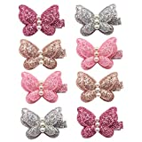 Elesa Miracle Baby Girl Hair Clips Toddlers Infants Kids Hair Butterfly Snap Clips Barrettes (8pc- Sequins Pearl Butterfly)