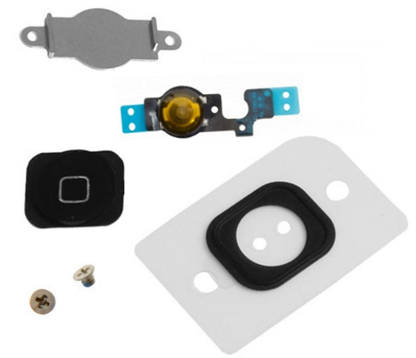 EShine Home Button Replacement Key Cap, Flex Cable, Rubber Gasket, Metal Piece, 2 Screws for iPhone 5C (Black)