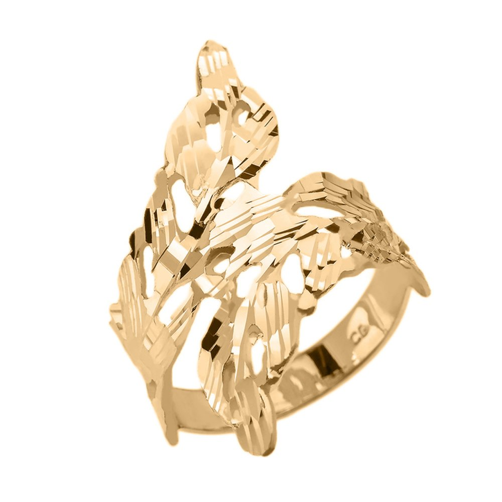 Double Laurel Wreath Leaf Ring in Fine 10k Yellow Gold (Size 7)
