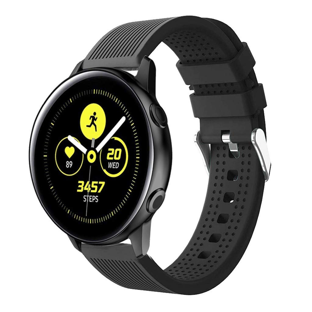 Band Compatible with Samsung Galaxy 42mm/Samsung Galaxy Watch Active Bands,Tuscom Soft Breathable Sport Strap Silicone Replacement Wristband for Gear S2 Classic, Garmin Vivoactive 3 (Black)