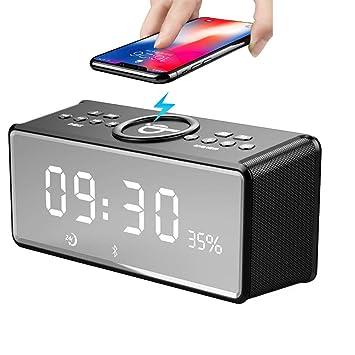 MJW Altavoz Bluetooth Despertador, Altavoz de Cargador ...