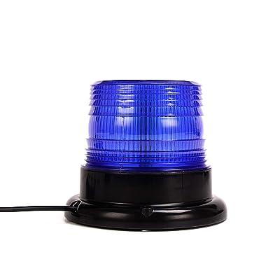 Blue Led Strobe Beacon Light, Emergency Magnetic Strobe Flashing Warning Beacon Light For Cars Truck Vehicle: Automotive