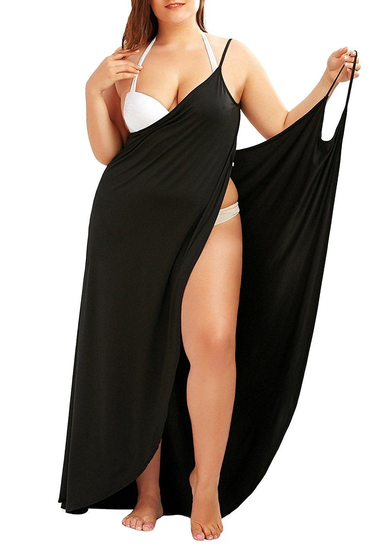 Fadalo Plus Size Spaghetti Strap Cover Up Beach Backless Wrap Long Dress (XX-Large, Black)
