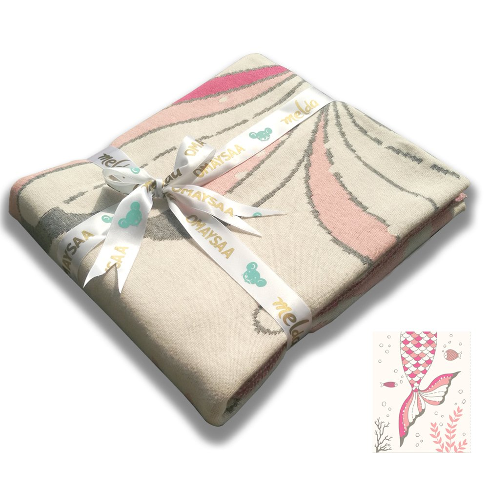 Omaysaa Mermaid Double Layer Knitting Cotton Bed Blanket for Kids All Season,33''×47'' (Pink)