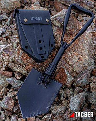 TAC9ER Collapsible E-Tool Shovel - Portable, Metal, Folding, Tactical Military Shovel with Serrated Steel Blade and Carrying Case for Camping, Backpacking, Gardening, and Survival by TAC9ER (Image #6)