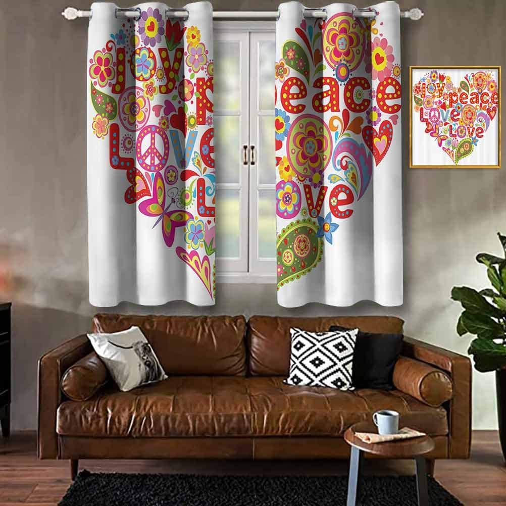 Groovy Decorations,Print with Colorful Hippie Floral Heart Spring Happiness Joy Wish Hope Message Modern Print Curtains Living Room Decorate Home Shading Cloth W84 X L90 Inch