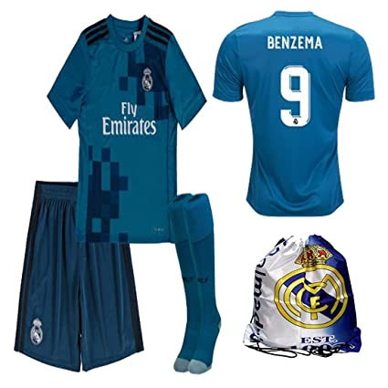 competitive price d4e08 a32f3 Real Madrid NB Ronaldo Bale Benzema Ramos 2017 2018 17 18 Kid Youth REPLICA  Third Jersey Kit : Shirt, Short, Socks, Bag
