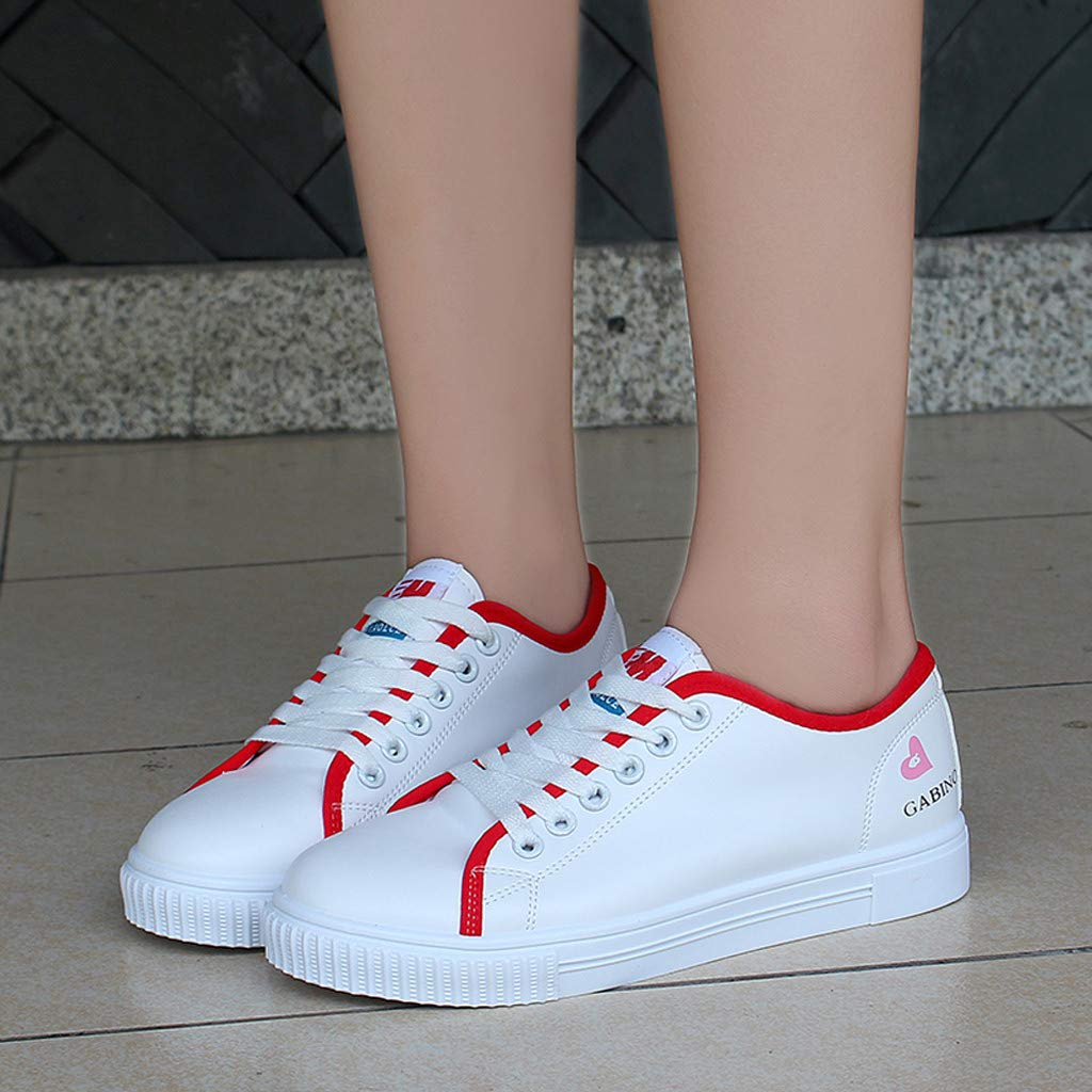 Amaping Womens Casual Sports Single Shoes Lace-Up Flat Sneakers for Running Outdoor Training US:7, Black