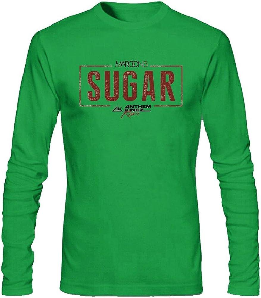 SLJD - Camiseta de manga larga para hombre (algodón), diseño de 5 azúcares, color granate