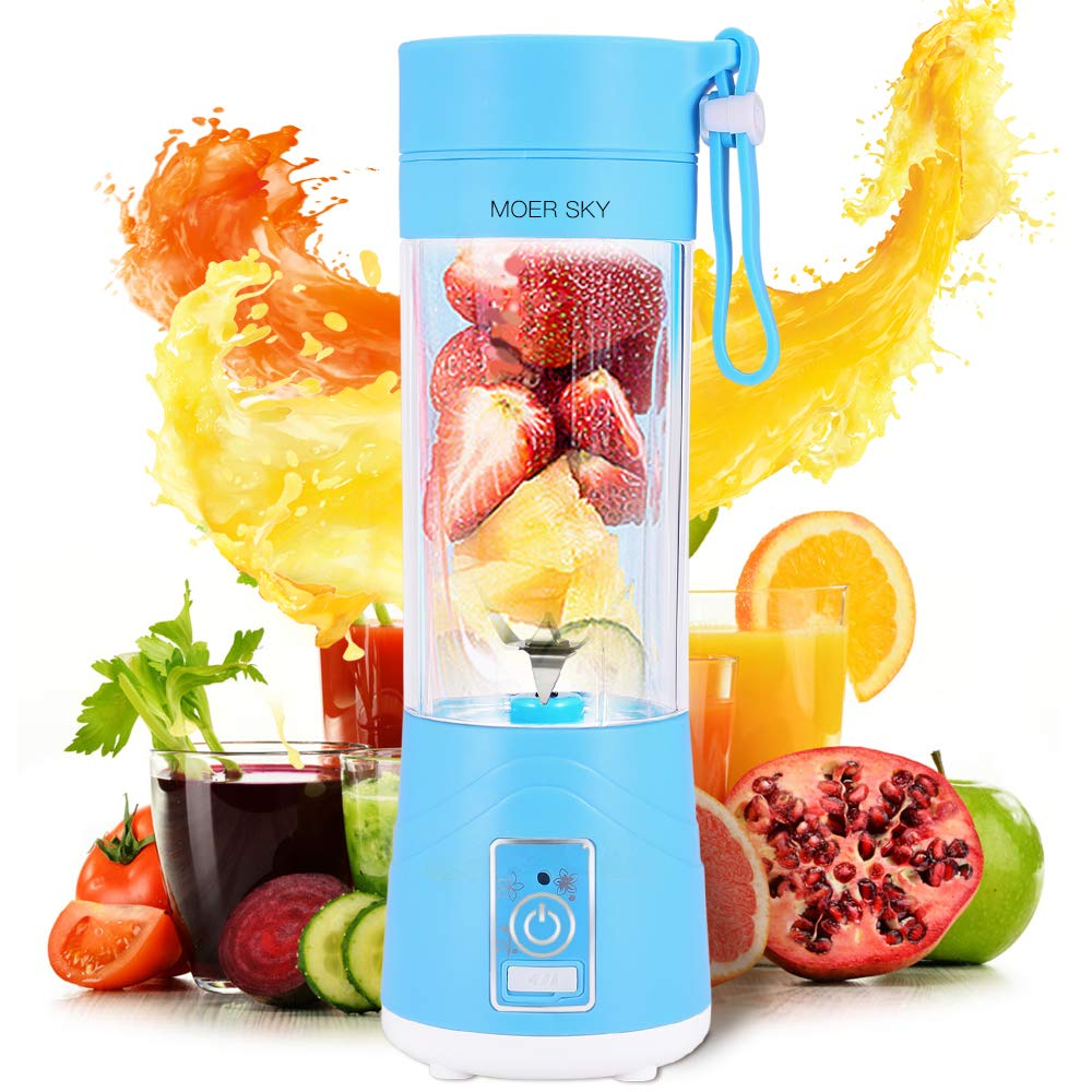 Portable Juicer Blender, Personal Size Fruit Mixer, 380ml Fruit Mixing Machine for Travel, Rechargeable USB Juicer Cup for Shakes and Smoothies (Blue)
