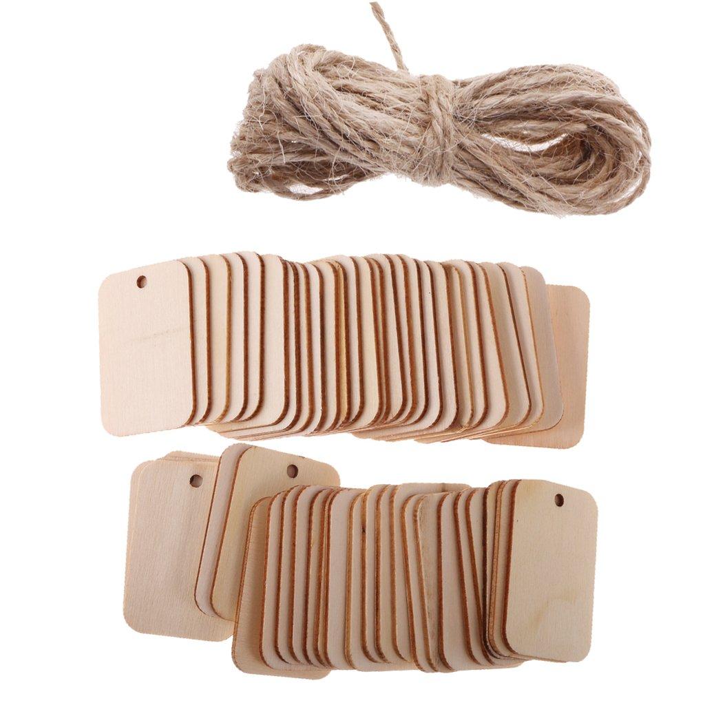 c903ce448541 MagiDeal 50 Pcs de Adorno Rectángular de Madera con Cuerda Accesorios de Artesanía  Manualidad Casa Jardín
