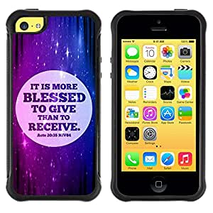 Suave TPU GEL Carcasa Funda Silicona Blando Estuche Caso de protección (para) Apple Iphone 5C / CECELL Phone case / / BIBLE It Is More Blessed To Give Than To Receive - Acts 20:35 /