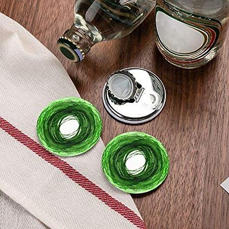 Abrebotellas, Doodle de círculo de trazo de pincel verde. Abridores de vino, Imanes de nevera, Abrebotellas con una sola mano Sacacorchos 2 piezas