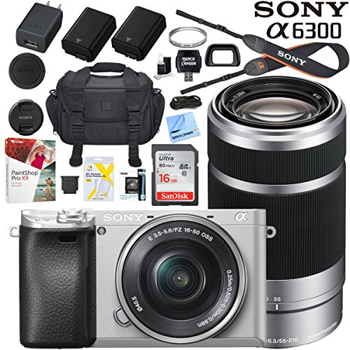 Sony a6300 4K Mirrorless Camera ILCE-6300L/S with 16-50mm & 55-210mm Lens (Silver) with Case Extra Battery Memory Card Pro Photograpy Bundle