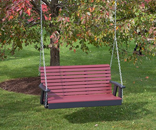 (5FT-CHERRYWOOD-POLY LUMBER ROLL BACK Porch Swing Heavy Duty EVERLASTING PolyTuf HDPE - MADE IN USA - AMISH CRAFTED)