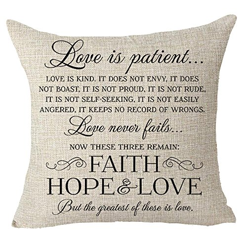 FELENIW Love is patient kind love never fails Best gift to Family motivational quote Throw Pillow Cover Cushion Case Cotton Linen Material Decorative 18