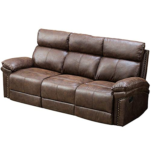 Romatlink Recliner Leather Sofa 3 Seat,Living Room Movable Sofa,Strong Bonded Leather Upholstery Thick Padded,Reclining Loveseat Adjustable Motion for Home Office Sofas Nice Style