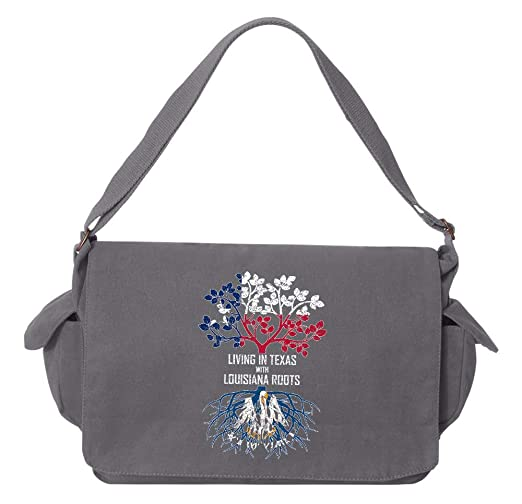 Tenacitee Living In Washington with Louisiana Roots Grey Brushed Canvas Messenger Bag