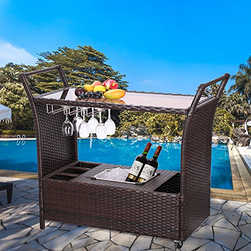 Do4U Outdoor Patio Wicker Serving Bar Cart with Ice Bucket Rolling Rattan Trolley Cart (9008-BN)