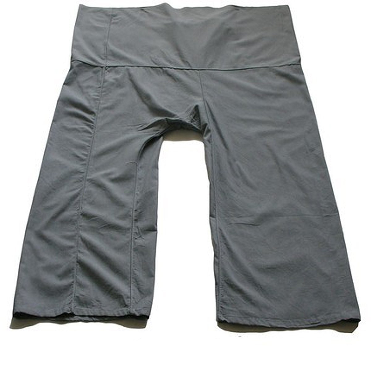 GREY Thai Fisherman Pants Yoga Trousers Free Size Toray Fabric (Light Cotton) Thai silk and cotton