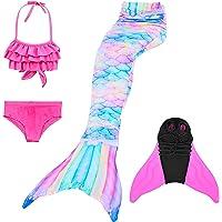 Conjunto de Piezas Cola de Sirena,niñas Colas de Sirena con monoaleta para Nadar Incluyen Trajes de Sirena baño de…