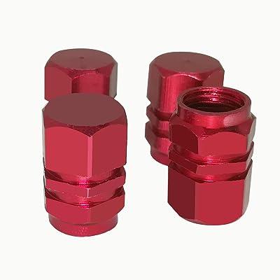 Mavota 4 PCS Style Polished Aluminum Chrome Tire Valve Stem Caps (Red): Automotive [5Bkhe1015304]