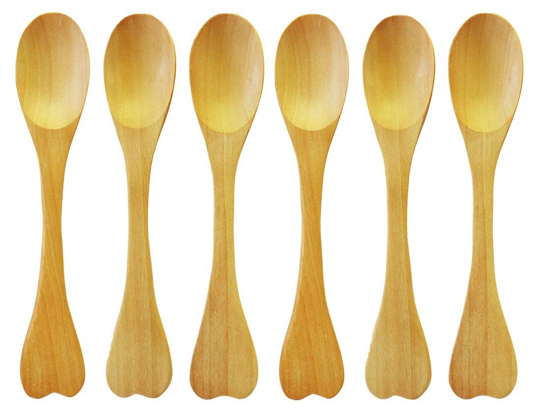 6 Piece Wooden Spoon Hand Craft 6 Inches Brown Sturdy Wooden Kitchen Utensil by The Green Garden