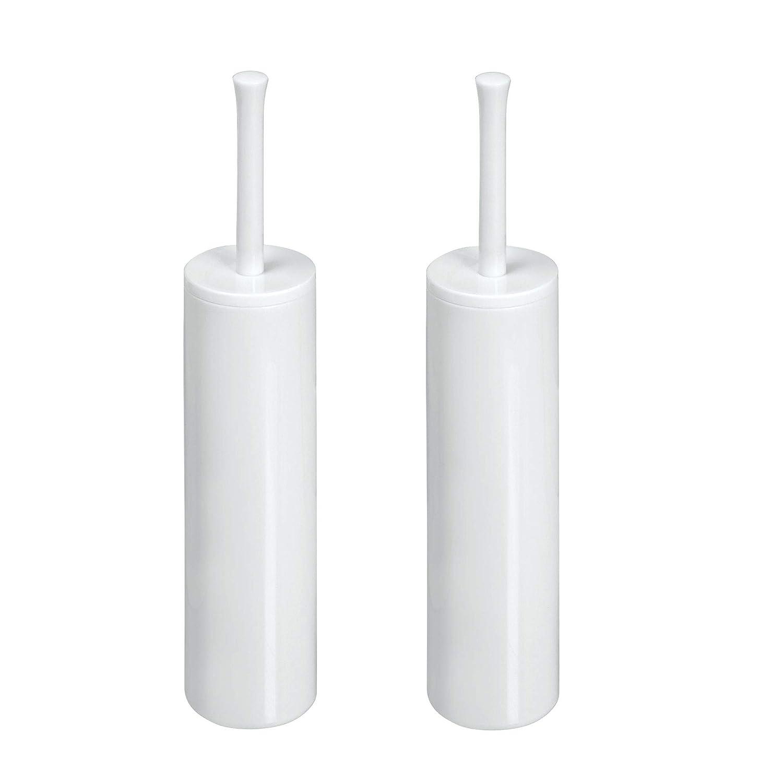 mDesign Juego de 2 modernos cepillos para inodoro con escobilleros para baño – Portaescobilla y escobilla del wáter de alta calidad – Accesorios de baño en plástico duradero – blanco MetroDecor 6881MDBST