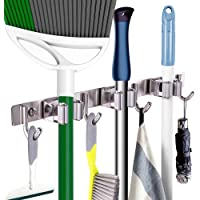 WOTOW Mop Broom Holder, Wall Mount Heavy Duty Hooks Stainless Steel Organizer Durable Space Saving for Kitchen Garage…