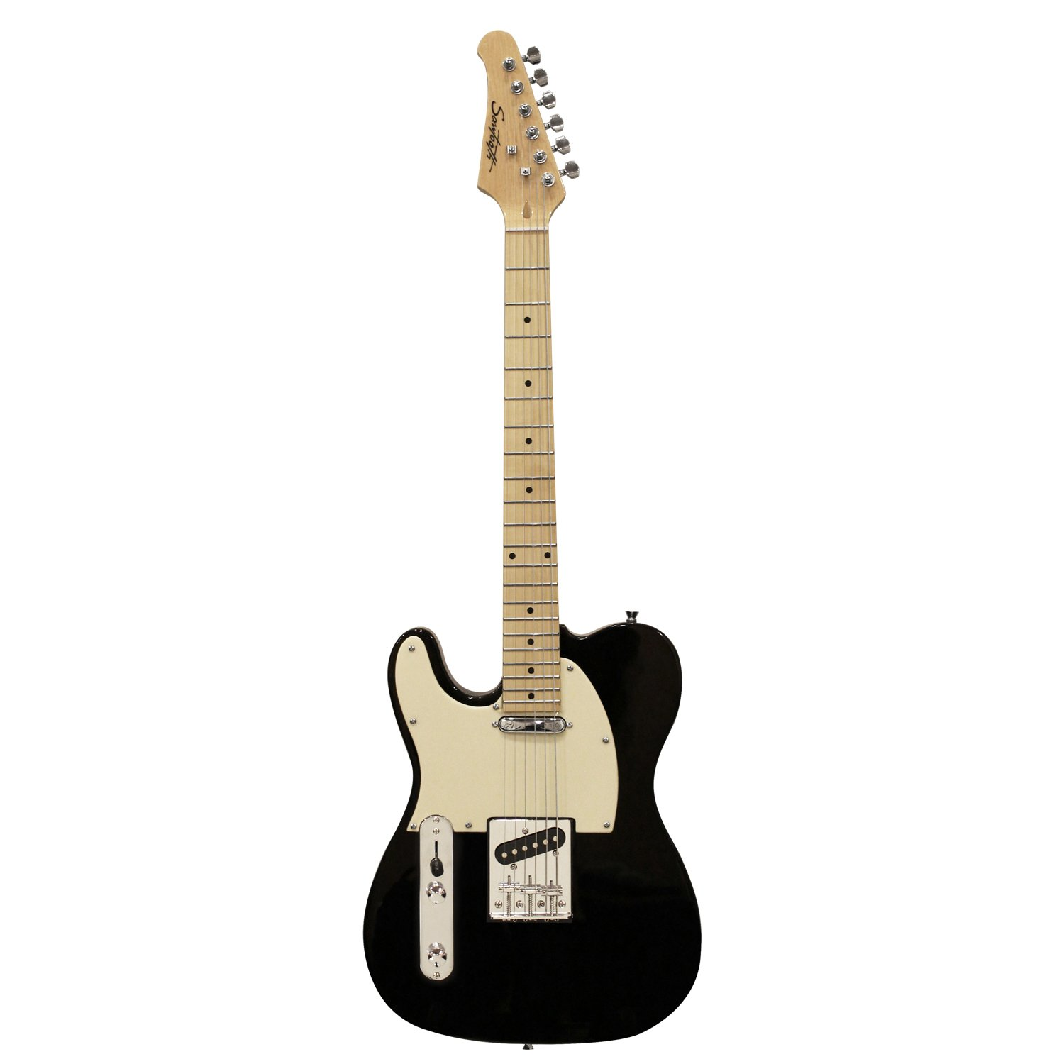 Sawtooth ET Series Left-Handed Electric Guitar, Black w/Aged White Pickguard ST-ET-LH-BKW