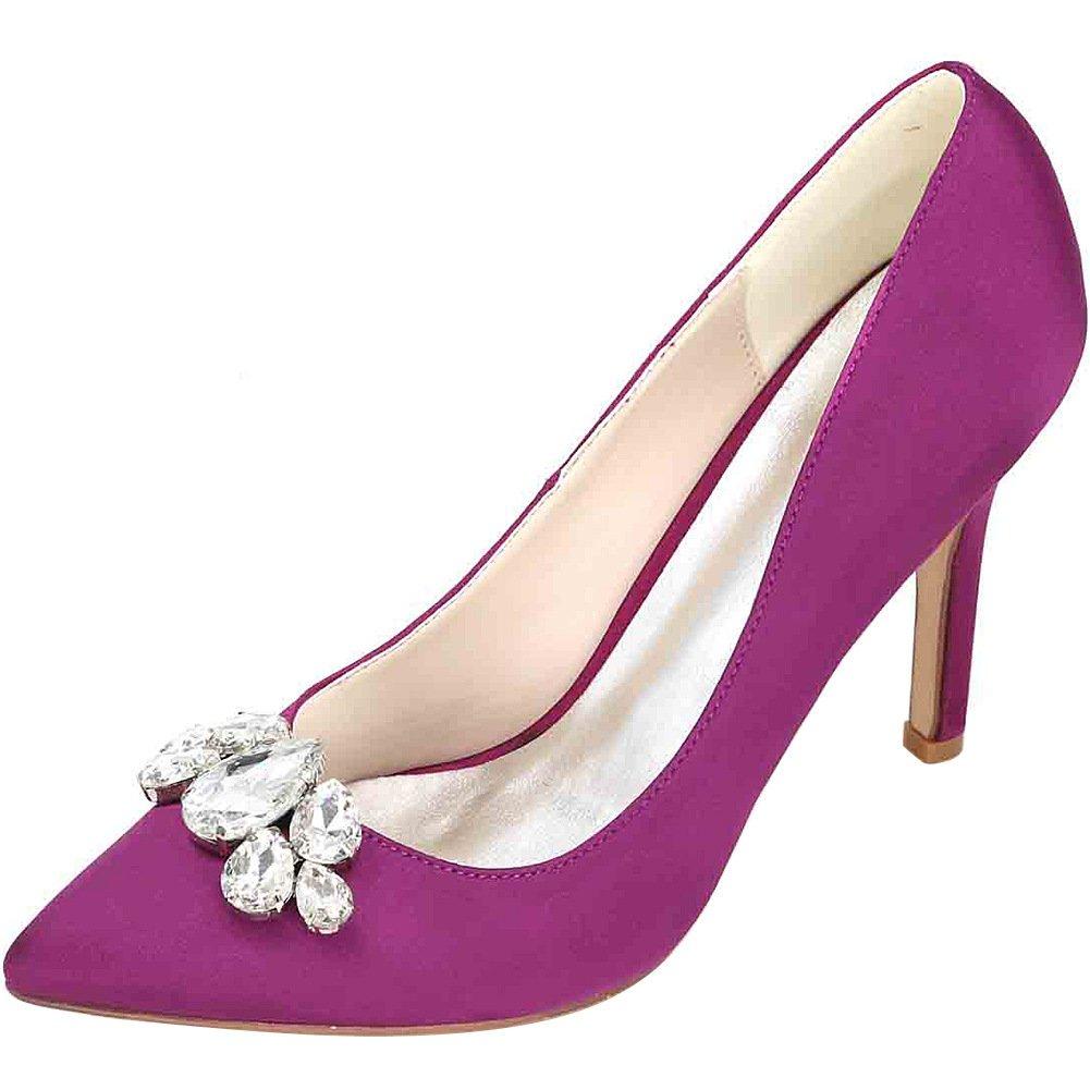 MEI&S  Frauen Spitzen flachen Zehe Stiletto flachen Spitzen Mund Prom High Heels Hochzeit Pumps Pumpen Purple 869b0c